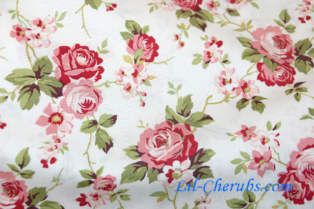 Fabric With Pink Roses Medium Rose White Fabric