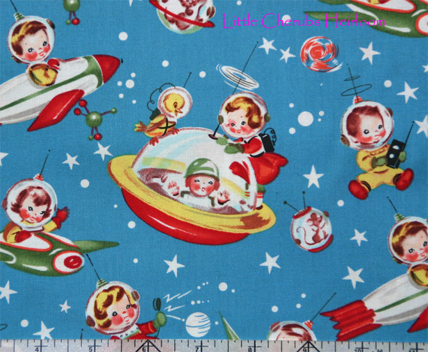 Michael miller retro rocket rascals astronaut fabric ebay for Rocket fabric