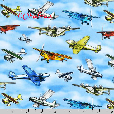 Rk on the road airplanes blue cotton fabric by yard ebay for Airplane fabric by the yard